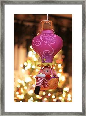 Framed Print featuring the photograph Vintage Christmas Elf Hot Air Balloon Ride by Barbara West