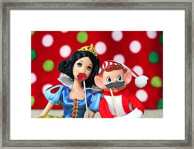 Framed Print featuring the photograph Vintage Christmas Elf Photo Booth Fun by Barbara West