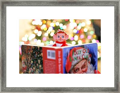 Framed Print featuring the photograph Vintage Christmas Elf Reading A Book by Barbara West