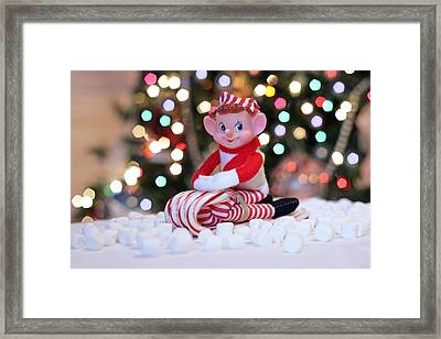 Framed Print featuring the photograph Vintage Christmas Elf Sliding by Barbara West