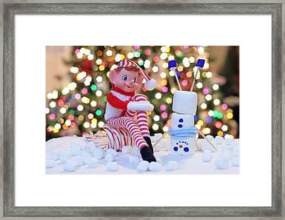 Vintage Christmas Elf Upside Down Snowman Framed Print