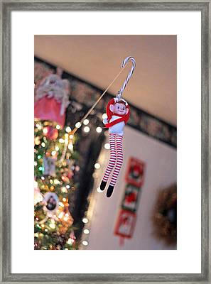 Framed Print featuring the photograph Vintage Christmas Elf Zipline by Barbara West