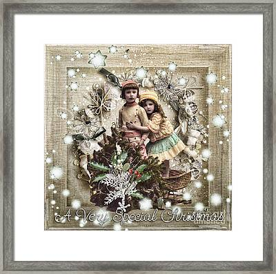 Vintage Christmas Framed Print by Mo T