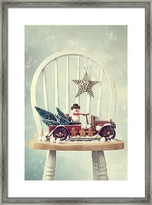 Vintage Christmas Truck Framed Print