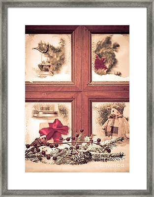 Vintage Christmas Window Framed Print by Amanda Elwell