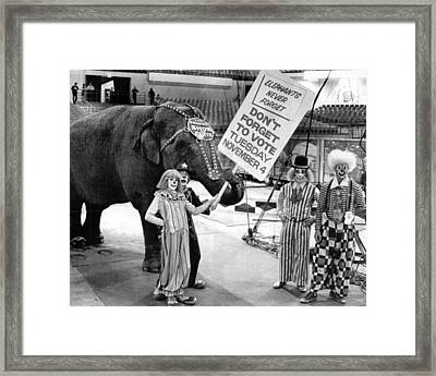 Vintage Circus Clowns And Elephant Framed Print by Retro Images Archive