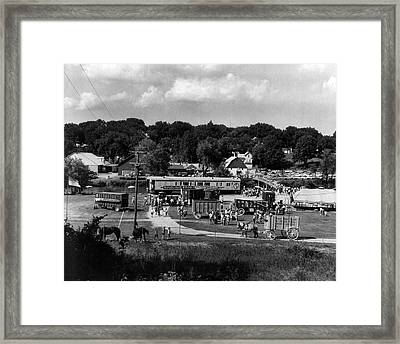 Vintage Circus In Town Setting Up Framed Print by Retro Images Archive