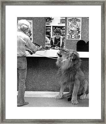 Vintage Circus Lion At The Bank Framed Print by Retro Images Archive