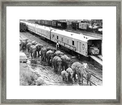 Vintage Circus Unloading Framed Print by Retro Images Archive