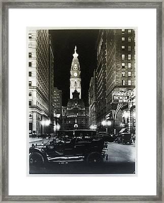 Vintage City Hall At Night Framed Print