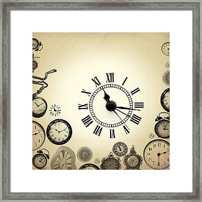 Vintage Clocks Framed Print