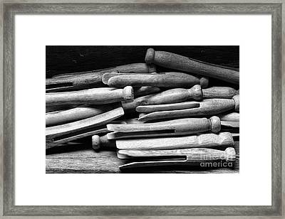 Vintage Clothespins Framed Print by Paul Ward