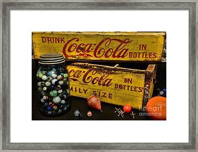 Vintage Coca Cola And Toys Framed Print