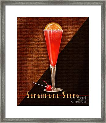 Vintage Cocktails-singapore Sling Framed Print by Shari Warren