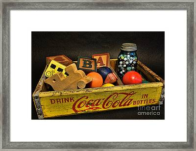 Vintage Coke And Toys Framed Print by Paul Ward