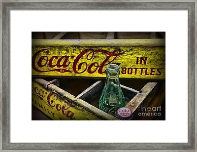 Vintage Coke In Yellow Framed Print by Paul Ward