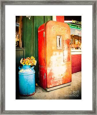 Vintage Coke Machine Framed Print by Sonja Quintero