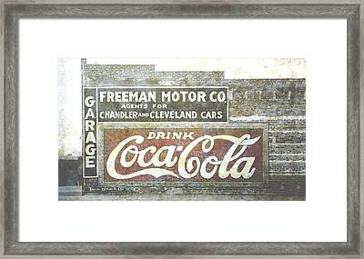 Vintage Cola Sign Mural Framed Print by Ann Powell