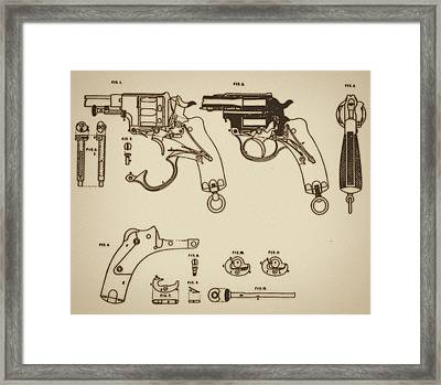 Vintage Colt Revolver Drawing Framed Print by Nenad Cerovic