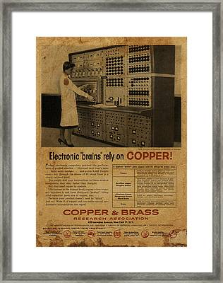 Vintage Copper And Brass Retro Magazine Electronics Advertisement Framed Print by Design Turnpike