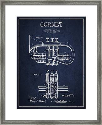 Cornet Patent Drawing From 1901 - Blue Framed Print by Aged Pixel