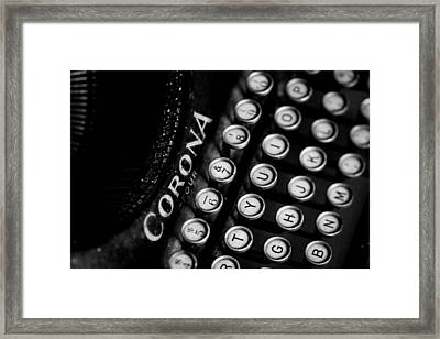 Vintage Corona Four Typewriter Framed Print by Jon Woodhams