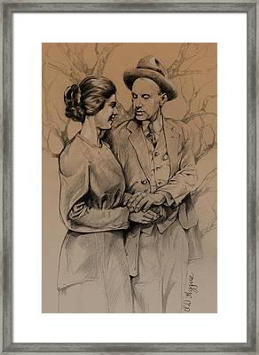 Vintage Courting Couple Framed Print