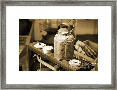 Framed Print featuring the photograph Vintage Creamery In Sepia by Lincoln Rogers