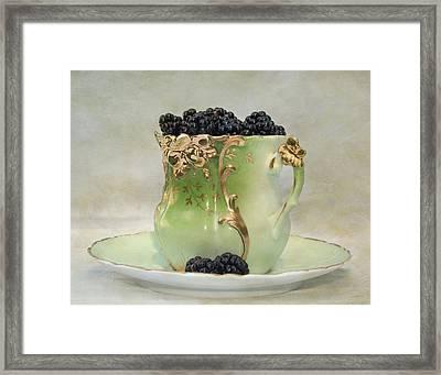 Vintage Cup O Berries Framed Print by Kathleen Holley
