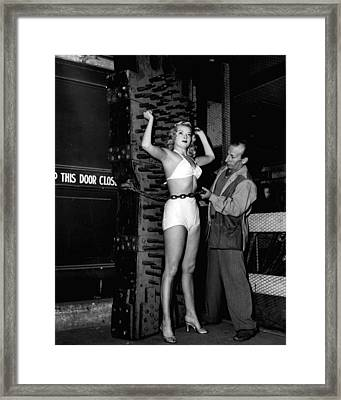 Vintage Dangerous Magic Show With Beautiful Assistant Framed Print by Retro Images Archive