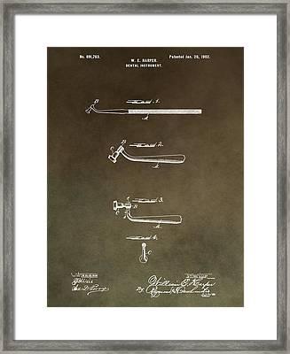 Vintage Dental Instrument Patent Framed Print