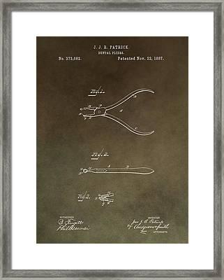 Vintage Dental Pliers Patent Framed Print