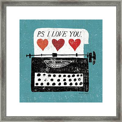 Vintage Desktop - Typewriter Framed Print by Michael Mullan