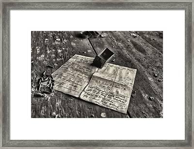 Vintage Document  Framed Print