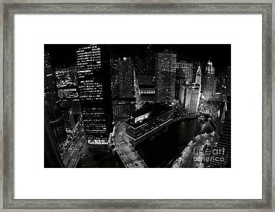 Vintage 2003  Downtown Chicago At Night Framed Print by Linda Matlow