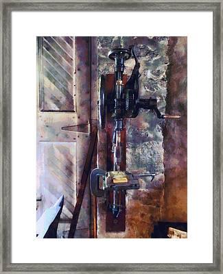 Vintage Drill Press Framed Print by Susan Savad