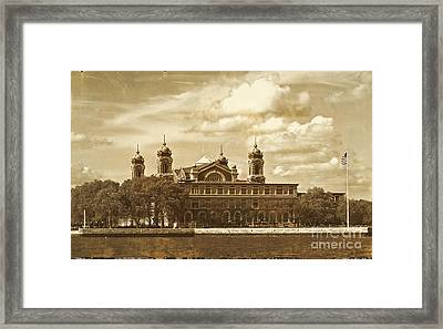 Framed Print featuring the photograph Vintage Ellis Island by Eleanor Abramson