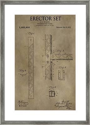 Vintage Erector Set Patent Framed Print by Dan Sproul
