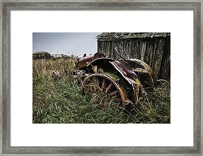 Vintage Farm Tractor Color Framed Print by Theresa Tahara