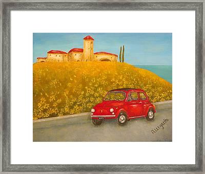 Vintage Fiat 500 Framed Print by Pamela Allegretto