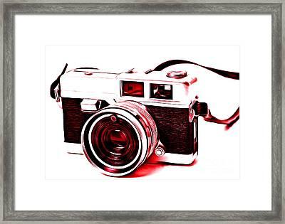 Vintage Film Slr Camera Red Framed Print