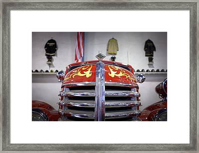 Vintage Fire Engine Hood Framed Print by Chris Bordeleau
