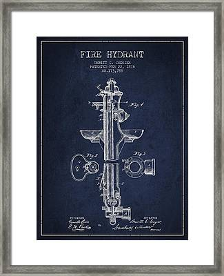 Vintage Fire Hydrant Patent From 1876 Framed Print