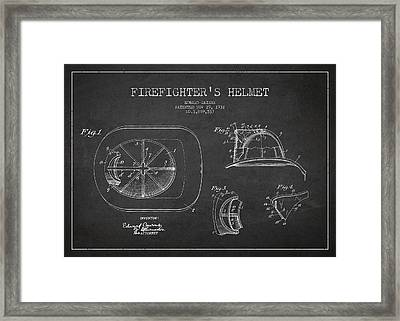 Vintage Firefighter Helmet Patent Drawing From 1932 Framed Print