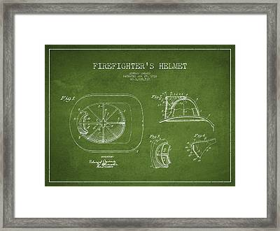 Vintage Firefighter Helmet Patent Drawing From 1932 - Green Framed Print by Aged Pixel