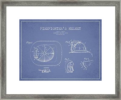 Vintage Firefighter Helmet Patent Drawing From 1932 - Light Blue Framed Print by Aged Pixel