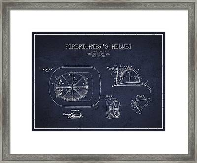Vintage Firefighter Helmet Patent Drawing From 1932 - Navy Blue Framed Print