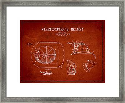 Vintage Firefighter Helmet Patent Drawing From 1932-red Framed Print by Aged Pixel