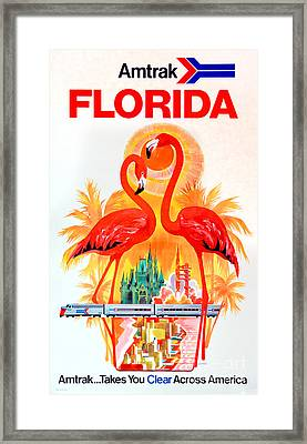 Vintage Florida Amtrak Travel Poster Framed Print
