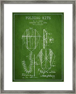 Vintage Folding Kite Patent From 1892 - Green Framed Print by Aged Pixel